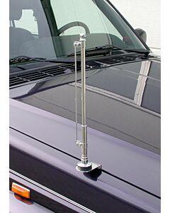 Chrom, standarten Halter für die rechte Fahrzeugseite, festverschraubbar (mit Aufnahmestange)