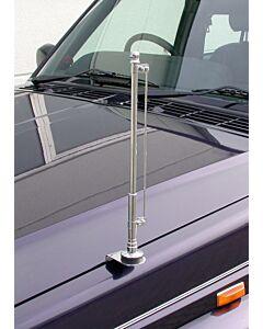 Chrom, standarten Halter für die linke Fahrzeugseite, festverschraubbar (mit Aufnahmestange)