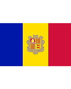 Flag: Andorra |  landscape flag | 1.35m² | 14.5sqft | 90x150cm | 3x5ft
