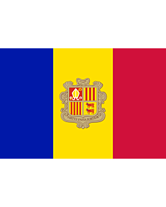 Flag: Andorra |  landscape flag | 3.375m² | 36sqft | 150x225cm | 5x7.5ft