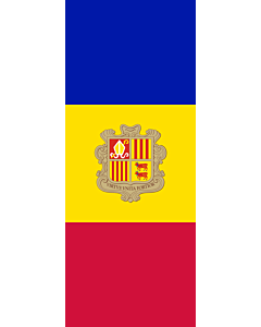 Vertical Hanging Beam Flag: Andorra |  portrait flag | 3.5m² | 38sqft | 300x120cm | 10x4ft
