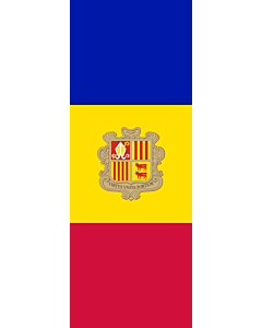 Vertical Hanging Beam Flag: Andorra |  portrait flag | 6m² | 64sqft | 400x150cm | 13x5ft