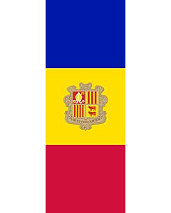 Drapeau: bannière drapau avec tunnel sans crochets Andorre |  portrait flag | 6m² | 400x150cm