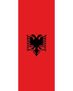 Bandera: Bandera vertical con manga cerrada para potencia Albania |  bandera vertical | 3.5m² | 300x120cm