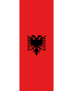 Vertical Hanging Swivel Crossbar Banner Flag: Albania |  portrait flag | 6m² | 64sqft | 400x150cm | 13x5ft