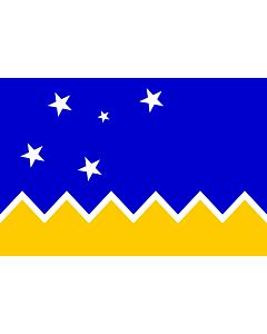 Flagge: Large Magallanes, Chile | Magallanes and Chilean Antarctica Region, Chile | XII Región de Magallanes y de la Antártica Chilena  |  Querformat Fahne | 1.35m² | 90x150cm