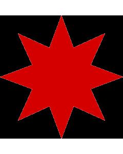 Flag: Azerbaijanian star |  1.35m² | 14.5sqft | 120x120cm | 45x45inch