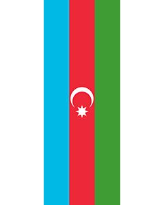 Vertical Hanging Swivel Crossbar Banner Flag: Azerbaijan |  portrait flag | 6m² | 64sqft | 400x150cm | 13x5ft