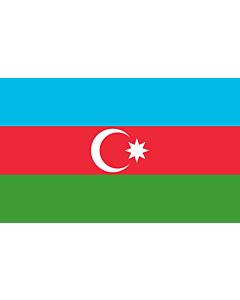Flag: Azerbaijan |  landscape flag | 1.35m² | 14.5sqft | 90x150cm | 3x5ft