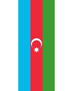 Vertical Hanging Beam Flag: Azerbaijan |  portrait flag | 3.5m² | 38sqft | 300x120cm | 10x4ft