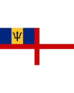 Flag: Naval Ensign of Barbados |  landscape flag | 0.06m² | 0.65sqft | 17x34cm | 7x14inch