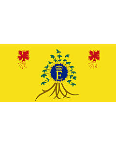 Flag: Queen Elizabeth II s personal flag for use in Barbados |  landscape flag | 0.06m² | 0.65sqft | 17x34cm | 7x14inch