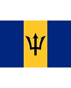 Flag: Barbados |  landscape flag | 0.375m² | 4sqft | 50x75cm | 1.5x2.5ft