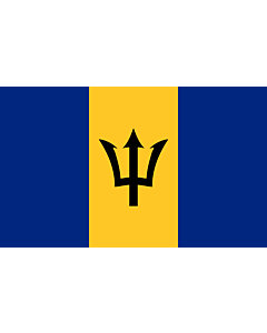 Flag: Barbados |  landscape flag | 6.7m² | 72sqft | 200x335cm | 6x11ft