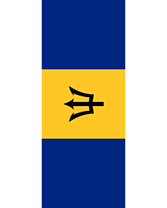 Vertical Hanging Beam Flag: Barbados |  portrait flag | 3.5m² | 38sqft | 300x120cm | 10x4ft
