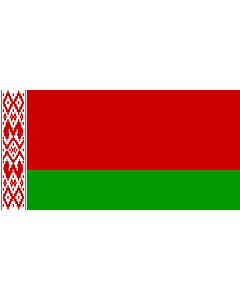 Flag: A variant of the national flag of Belarus with 2 red stripes who borders the ornament pattern |  landscape flag | 2.16m² | 23sqft | 100x200cm | 40x80inch