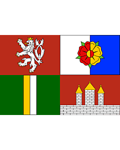Flag: South Bohemian Region |  landscape flag | 0.24m² | 2.5sqft | 40x60cm | 1.3x2foot