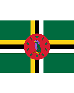 Flag: Dominica |  landscape flag | 0.7m² | 7.5sqft | 70x100cm | 2x3ft