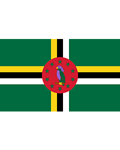 Flag: Dominica |  landscape flag | 1.35m² | 14.5sqft | 90x150cm | 3x5ft