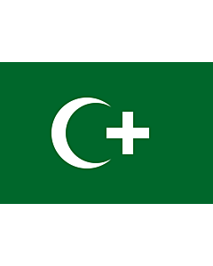 Flag: The revolution flag of Egypt from 1919. It bears a crescent and cross to demonstrate that both Muslims and Christians supported the Egyptian nationalist movement against British occupation |  landscape flag | 0.06m² | 0.65sqft | 20x30cm | 8x12in