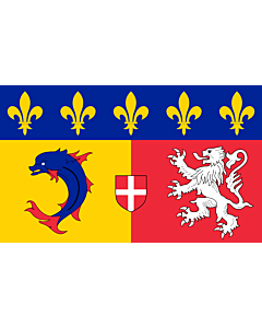 Flag: Rhône-Alpes |  landscape flag | 6.7m² | 72sqft | 200x335cm | 6x11ft