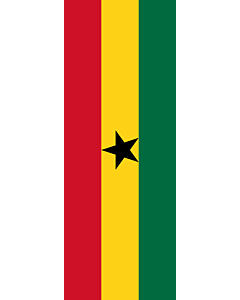 Vertical Hanging Swivel Crossbar Banner Flag: Ghana |  portrait flag | 6m² | 64sqft | 400x150cm | 13x5ft