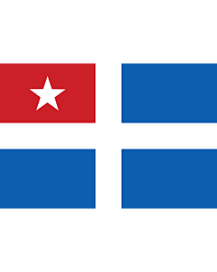 Drapeau: Cretan State | Cretan State  1898-1913, an autonomous state of the Ottoman Empire  - the design depicted the blue and white cross design of Greece and a red canton  upper left  with a white five-pointed star symbolizing the Ottoman suzerainty |