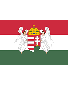 Bandera: Hungary  1867-1918 | A variant of the flag of the Kingdom of Hungary used between 6 November 1915 to 29 November 1918 | A Magyar Királyság 1915. november 6. és 1918. november 29. között használt zászlajának egyik változata |  bandera paisaje | 1.