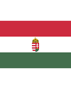 Bandera: Hungary with arms | National flag of Hungary with arms ► | Maloficiala nacia flago de Hungario kun blazono | Magyarország címeres polgári zászlója  magyar zászló  ► |  bandera paisaje | 1.35m² | 90x150cm