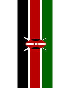 Bandera: Bandera vertical con manga cerrada para potencia Kenia |  bandera vertical | 3.5m² | 300x120cm