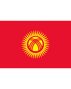 Flag: Kyrgyzstan |  landscape flag | 0.375m² | 4sqft | 50x75cm | 1.5x2.5ft
