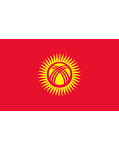 Flag: Kyrgyzstan |  landscape flag | 1.35m² | 14.5sqft | 90x150cm | 3x5ft