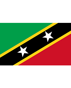 Flag: Saint Kitts and Nevis |  landscape flag | 6.7m² | 72sqft | 200x335cm | 6x11ft