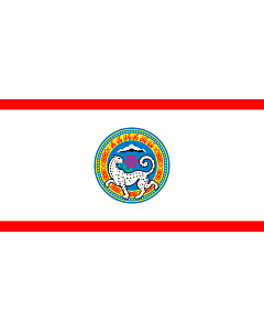 Flag: Official flag of Almaty city in the Republic of Kazakhstan |  landscape flag | 0.06m² | 0.65sqft | 17x34cm | 7x14inch