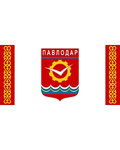 Flag: Pavlodar, Kazakhstan |  landscape flag | 2.16m² | 23sqft | 100x200cm | 40x80inch