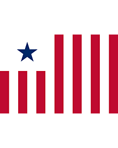 Flag: Liberian Customs Service - the flag s dimensions are 2 3. The main field is divided into 13  2 additional stripes compared to the national flag  vertical alternating red and white stripes |  landscape flag | 1.35m² | 14.5sqft | 90x150cm | 3x5ft