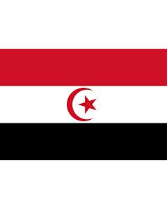 Flagge: XL République Arabe Islamique  Union tuniso-libyenne | République arabe islamique  Union tuniso-libyenne  d après la description figurant dans le protocole de l union rapporté dans le livre Les trois décennies Bourguiba de Tahar Belkhodja  |  Quer