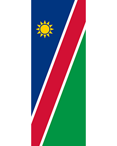 Vertical Hanging Swivel Crossbar Banner Flag: Namibia |  portrait flag | 6m² | 64sqft | 400x150cm | 13x5ft