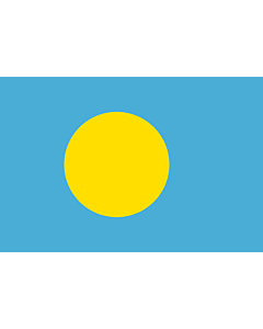 Flag: Palau |  landscape flag | 0.06m² | 0.65sqft | 20x30cm | 8x12in