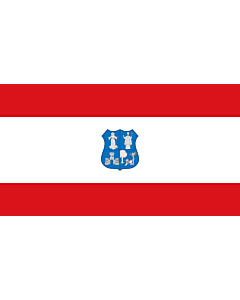 Flag: Asunción | Escudo y bandera de la ciudad según la Ordenanza 208/01 |  landscape flag | 2.16m² | 23sqft | 110x200cm | 43x80inch