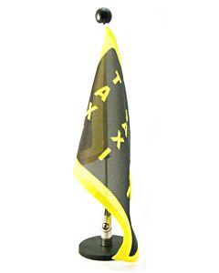 magnetisch haftender Autofahnen-Ständer Diplomat-1.30 mit individuell bedruckter Fahne (linke Seite)