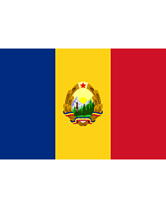 Flag: Romania  1952-1965 | Romania  24 September 1952 - 21 August 1965 |  landscape flag | 2.16m² | 23sqft | 120x180cm | 4x6ft