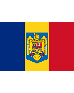 Flag: Romania with the coat of arms |  landscape flag | 0.06m² | 0.65sqft | 20x30cm | 8x12in
