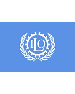 Bandera de Interior para protocolo: ILO | International Labour Organization | Organisation internationale du travail | Internationale Arbeitsorganisation | Dell Organizzazione Internazionale del Lavoro 90x150cm