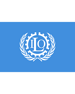 Flag: International Labour Organization |  landscape flag | 3.75m² | 40sqft | 150x250cm | 5x8ft