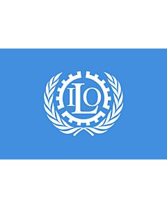 Bandera: ILO | International Labour Organization | Organisation internationale du travail | Internationale Arbeitsorganisation | Dell Organizzazione Internazionale del Lavoro |  bandera paisaje | 6.7m² | 200x335cm