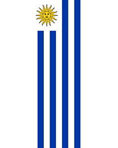 Vertical Hanging Swivel Crossbar Banner Flag: Uruguay |  portrait flag | 6m² | 64sqft | 400x150cm | 13x5ft