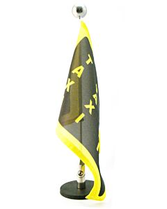 magnetisch haftender Autofahnen-Ständer Diplomat-1.30-Chrome mit individuell bedruckter Fahne (rechte Seite)