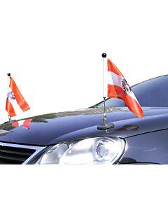 Par  Soporte de bandera para coches con sujeción magnética Diplomat-1.30 Austria con escudo oficial
