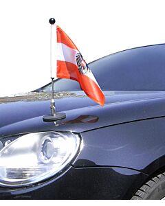 Soporte de bandera para coches con sujeción magnética Diplomat-1.30 Austria con escudo oficial